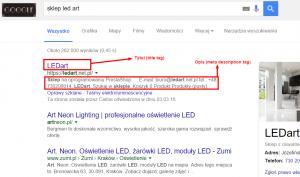 Przykład złych title tagow i meta opisów strony głownej sklepu prestashop. Buduj sklep pod SEO
