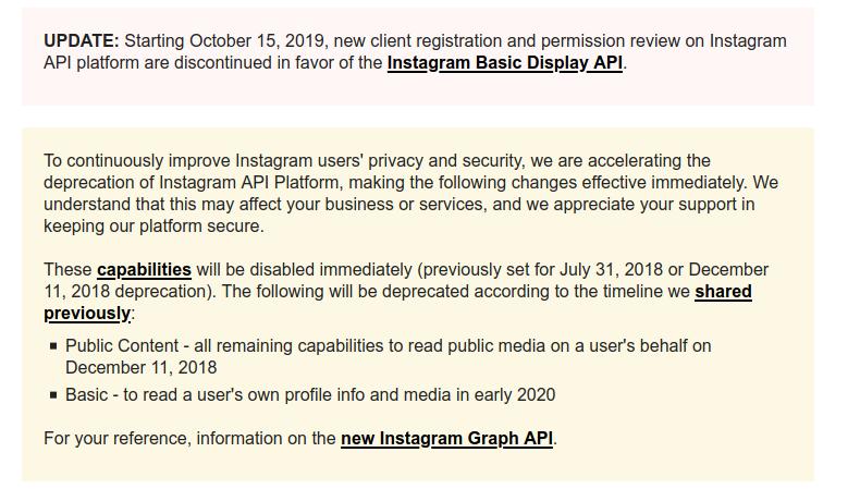 Komunikat podczas próby pozyskania CLIENT-ID na Instagram.com